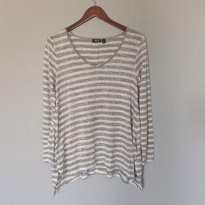 Ana Marbled Stripe Slight V Lightweight Sweater